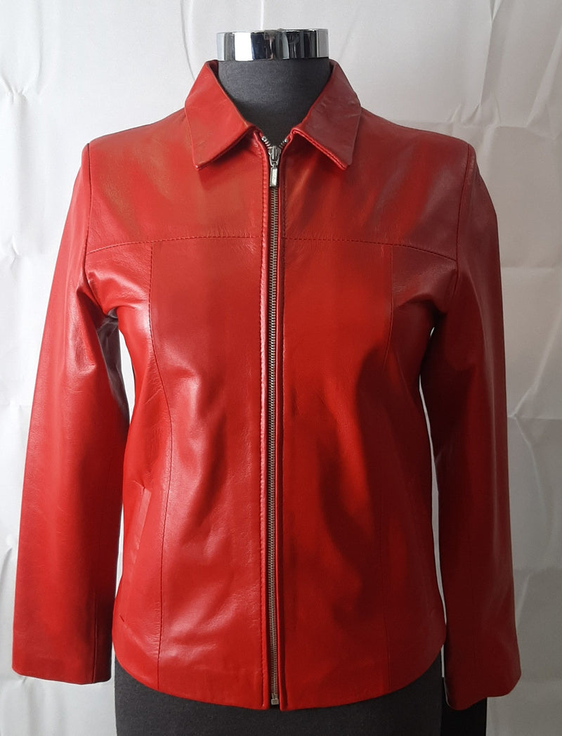 Siricco Women's Classic Zip Leather Jacket  SI036L- Made in Australia