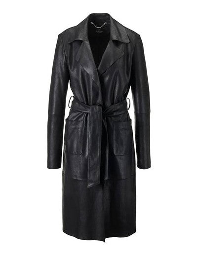 Teresa Women's Italian Raw Edge Leather Coat