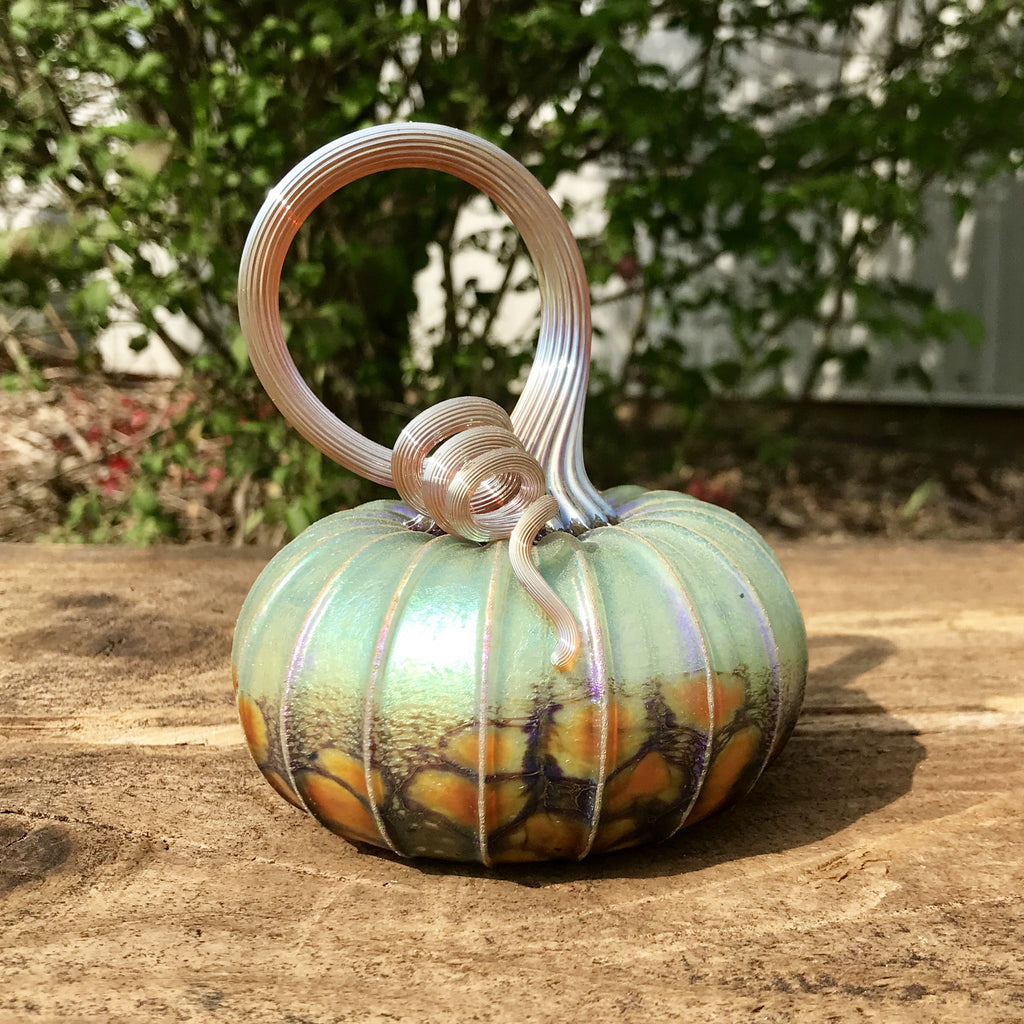 Green Orchard Glass Pumpkin