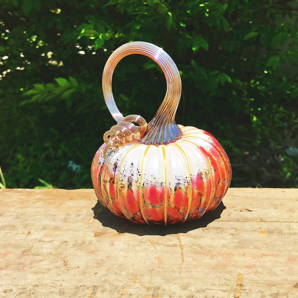 White Orchard Glass Pumpkin
