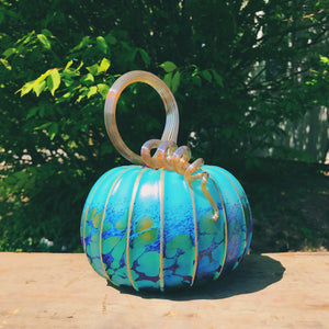 Pacific Blue Glass Pumpkin