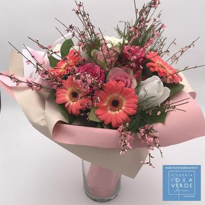 Bouquet Mazzo Rose Gerbere Ginestra