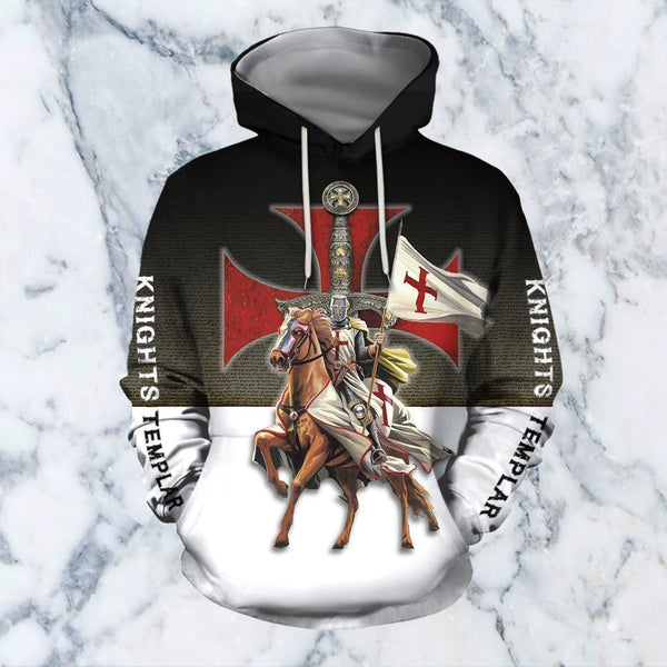 3D All Over Printed Knights Templar On Horseback