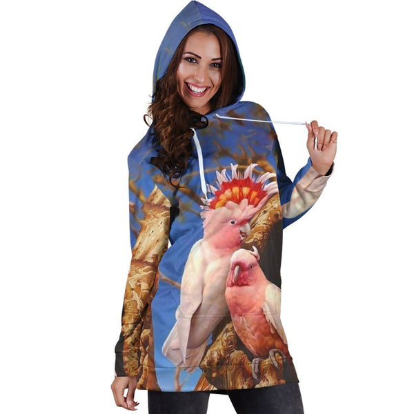All Over Printed Parrots Tops Hoodie Dress