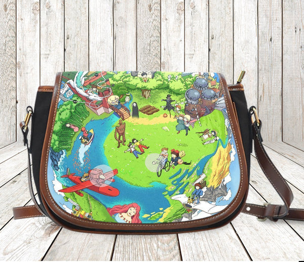 Canvas Saddle Bag Green Planet
