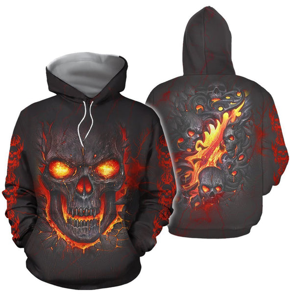 3D All Over Print Skull Hoodie