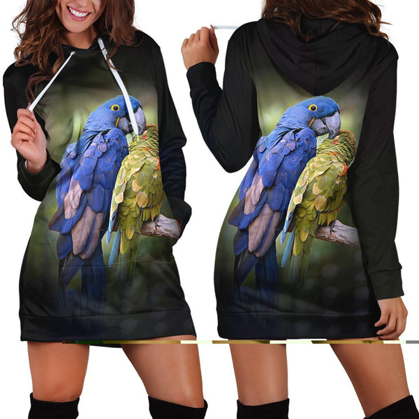 3D All Over Macaw Parrot Hoodie Dress