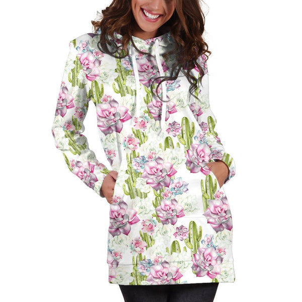 All Over Printing Cactus Have violet Flower Hoodie Dress