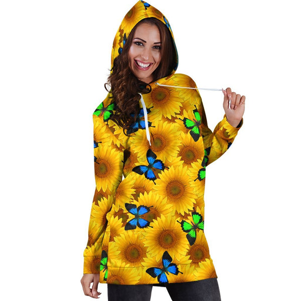 All Over Printing Butterfly Garden And yellow flowers Hoodie Dress - Jumanteez - Apparel