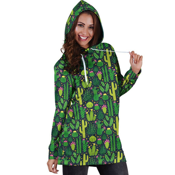 All Over Printing Green Cactus Have Flower Hoodie Dress