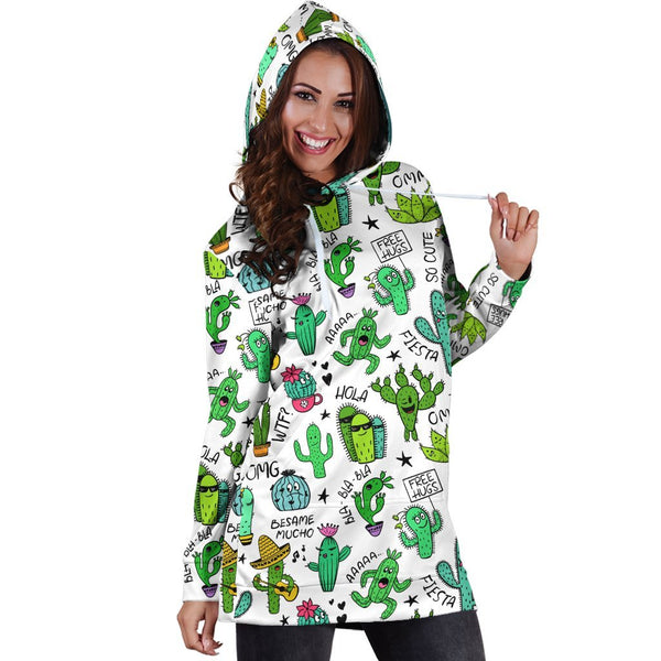 All Over Printing Cactus Quotes Hoodie Dress