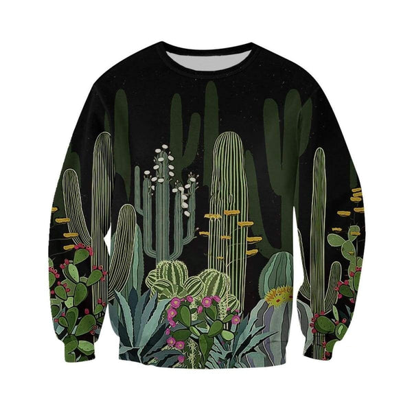 3D All Over Printed Black cactus Shirts