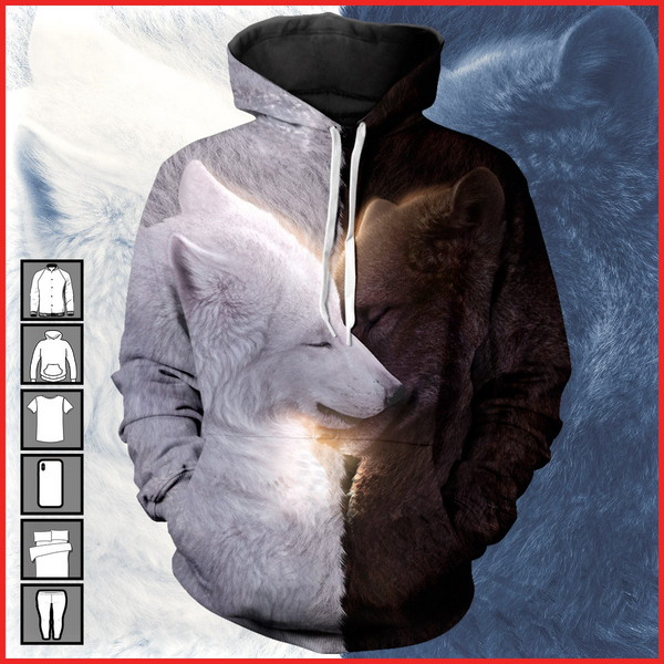 3D All Over Print Beautiful wolf Hoodie