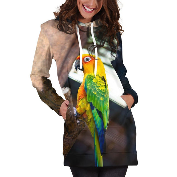 All Over Printed Parrots Hoodie Dress H2439B