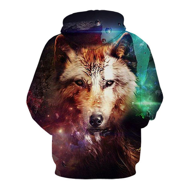 3D All Over Print Galaxy Wolf  Hoodie