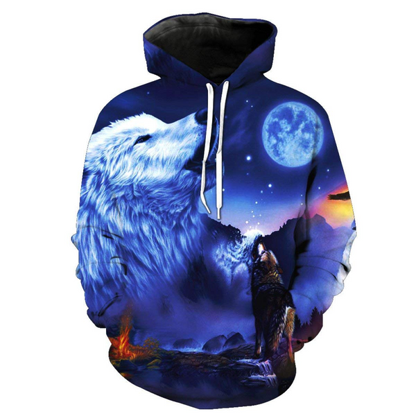 3D All Over Print Moon And wolf Hoodie