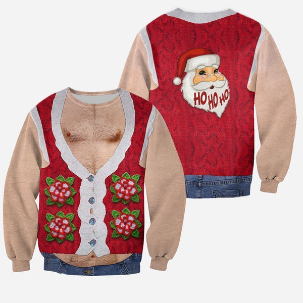 3D All Over Printed Real Men's Hairy Ugly Christmas Shirts and Shorts