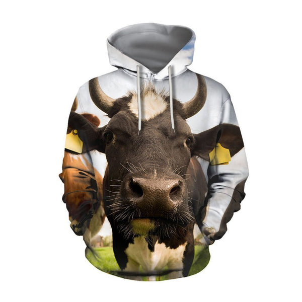 3D All Over Printed Cow And Flower Hoodie