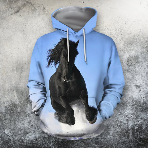 3D All Over Print Black Horse Blue Sky Shirts
