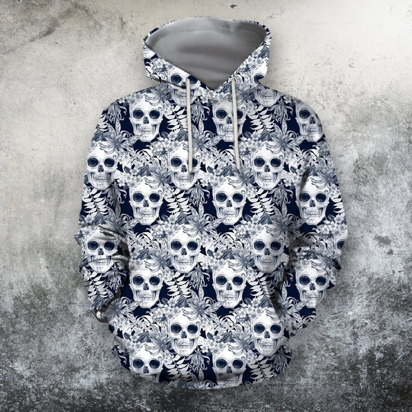 3D All Over Print Skull Flower Shirts