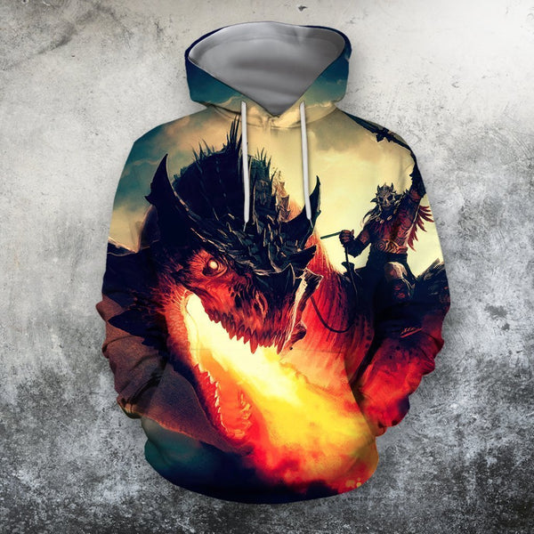 3D All Over Printing Dragon Rider Shirts
