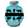 Sunset and Cow Blue Backgroud Hoodie