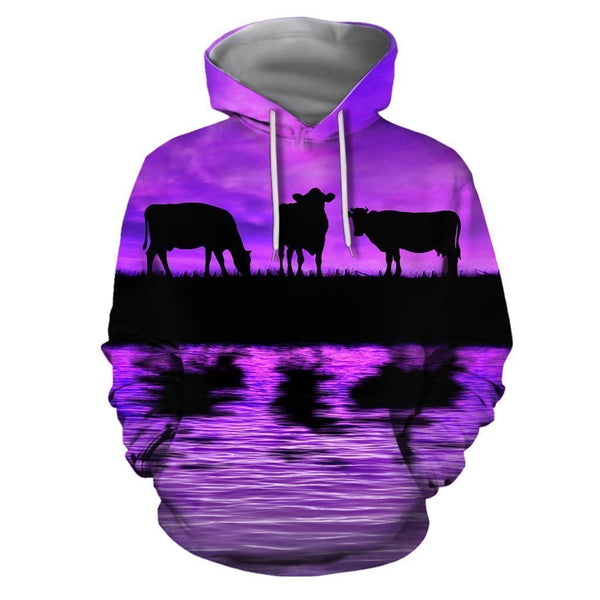 Sunset and Cow Violet Backgroud Hoodie