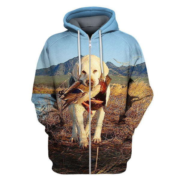 3D All Over Print Hunting Dog Zip Hoodie