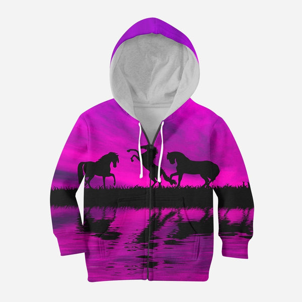 3D All Over Print Kid's Animals Horse Hoodie