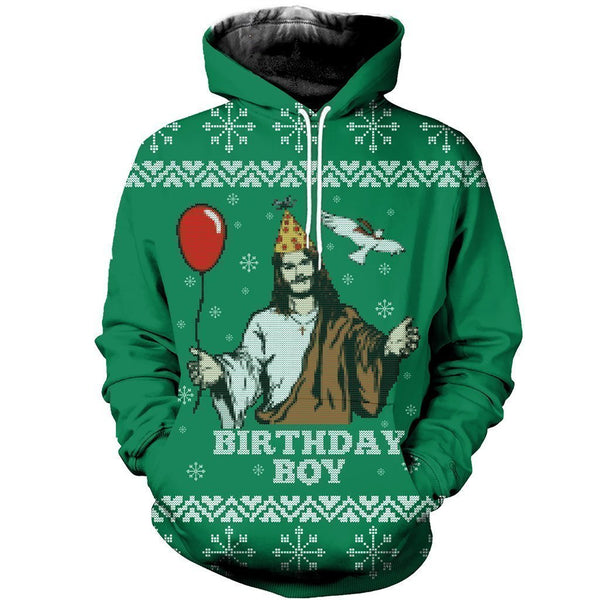 3D All Over Printed Ugly Sweater Happy Birthday Jesus Shirts and Shorts