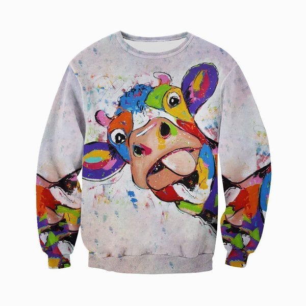 3D All Over Printed Oil Painting Cow Shirts and Shorts