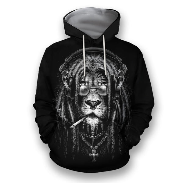 3D All Over Print Black & White Lion Smoking