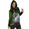 All Over Printed Parrots Hoodie Dress H2179B
