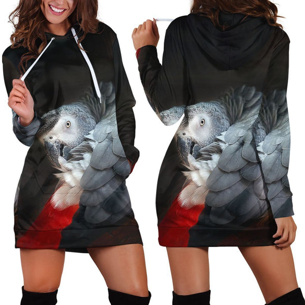 All Over Printed Parrots Hoodie Dress H2129B