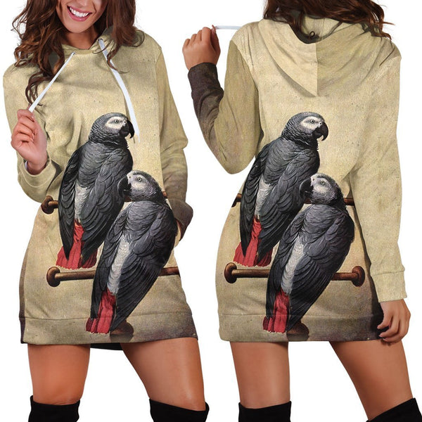 All Over Printed Parrots Hoodie Dress H2079B