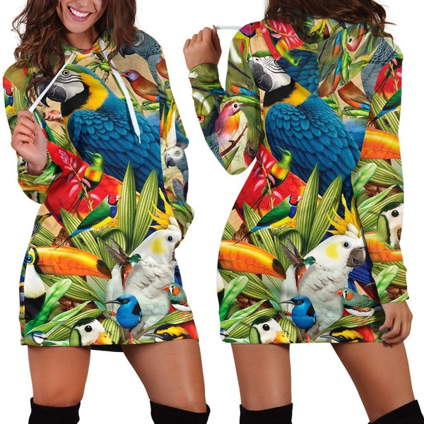 All Over Printed Parrots Hoodie Dress