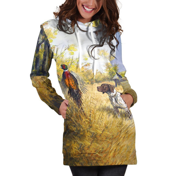 All Over Printed Pheasant Hunting Hoodie Dress