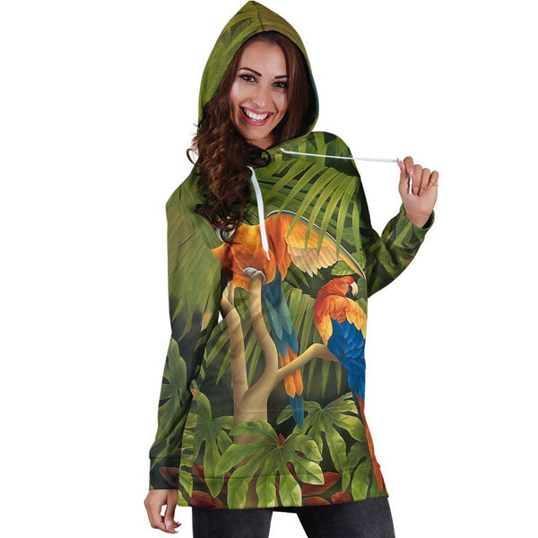 All Over Printed Parrots Hoodie Dress H147B