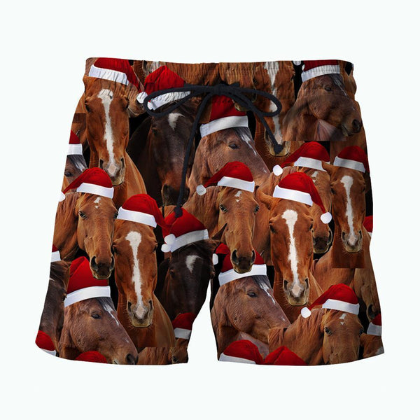 3D All Over Printed Horse Merry Christmas Shirts and Shorts