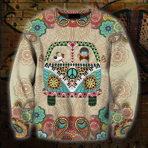 3D All Over Print Dog Hippie Hoodie
