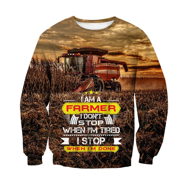 I Stop When I'M Done Tractor Hoodie