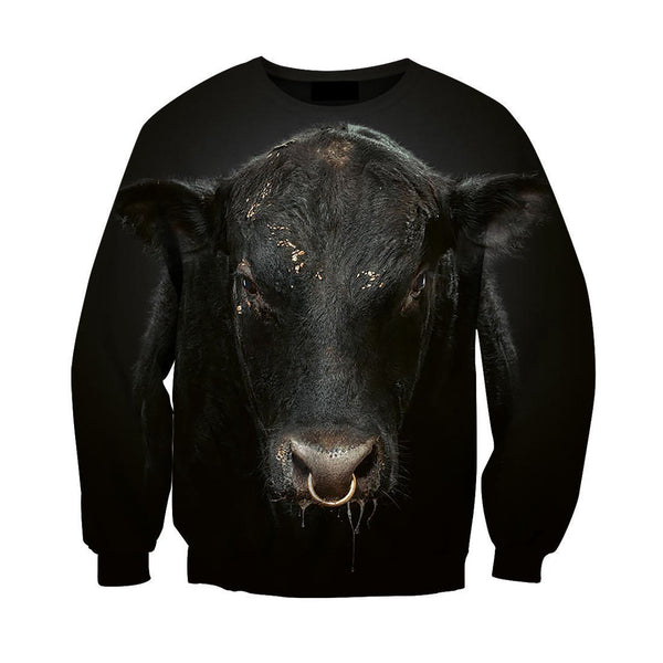 3D All Over Printed Black Cow  Hoodie