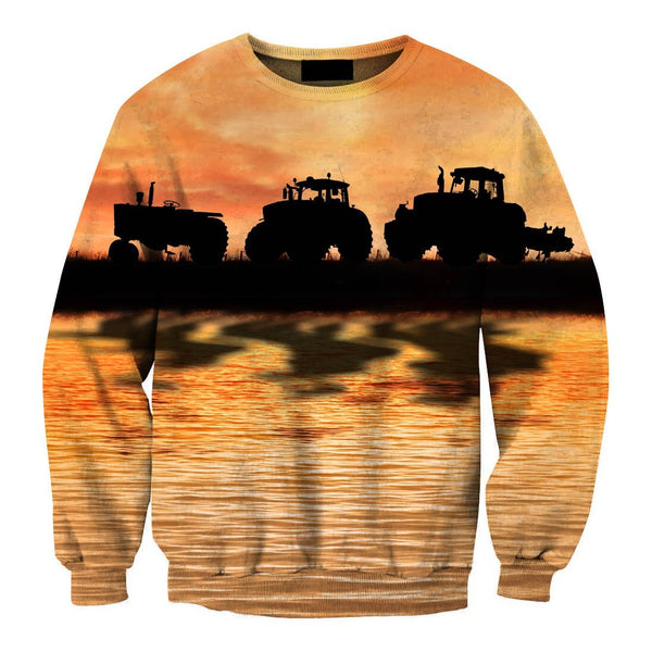 Sunset And Tractor Hoodie - Jumanteez - Apparel