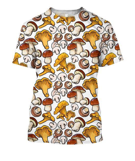 All Over Printing yellow Mushroom Shirt