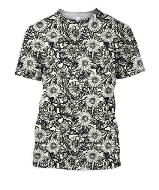 All Over Printing Black Sunflower Daisy Shirt