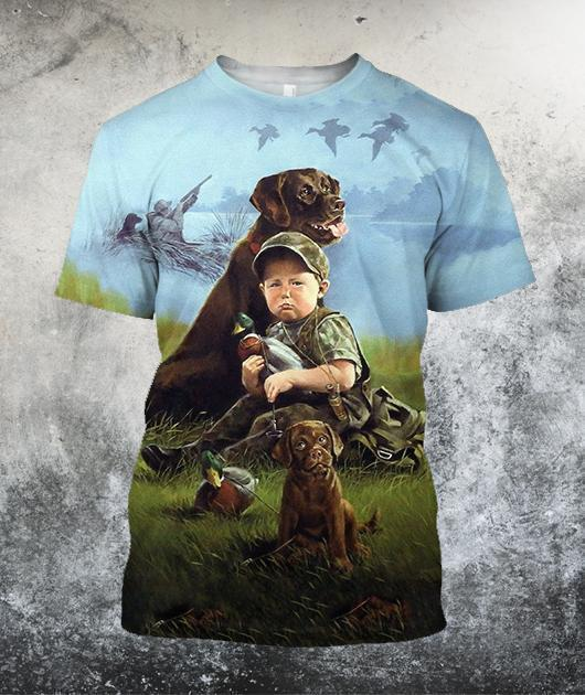 Hunting Dog Art 3D All Over Printed Shirts