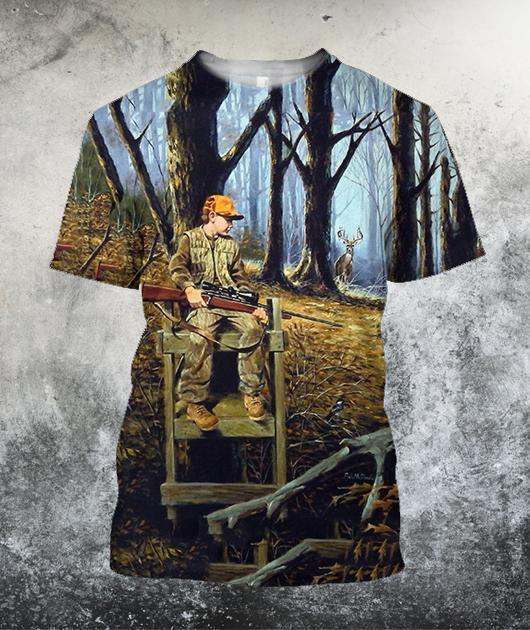 Hunting Deer Art 3D All Over Printed Shirts