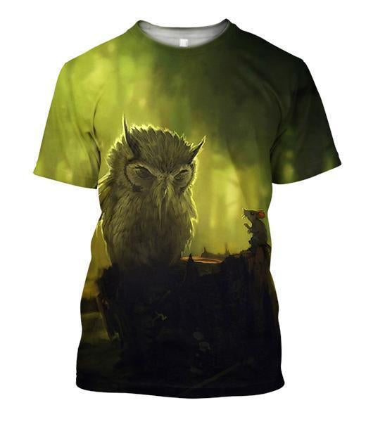3D All Over Print Owl And Mouse Shirts