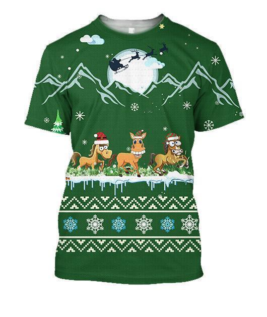 3D All Over Print Green Horse Shirts