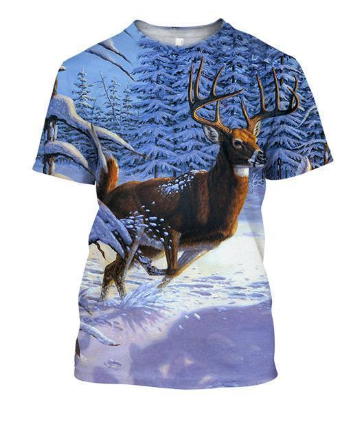 3D All Over Print Deer Running Art Shirts
